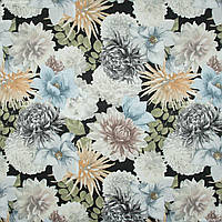Жаккард-принт  жани/janis  фон черный,цветы серый 145528, фото 1