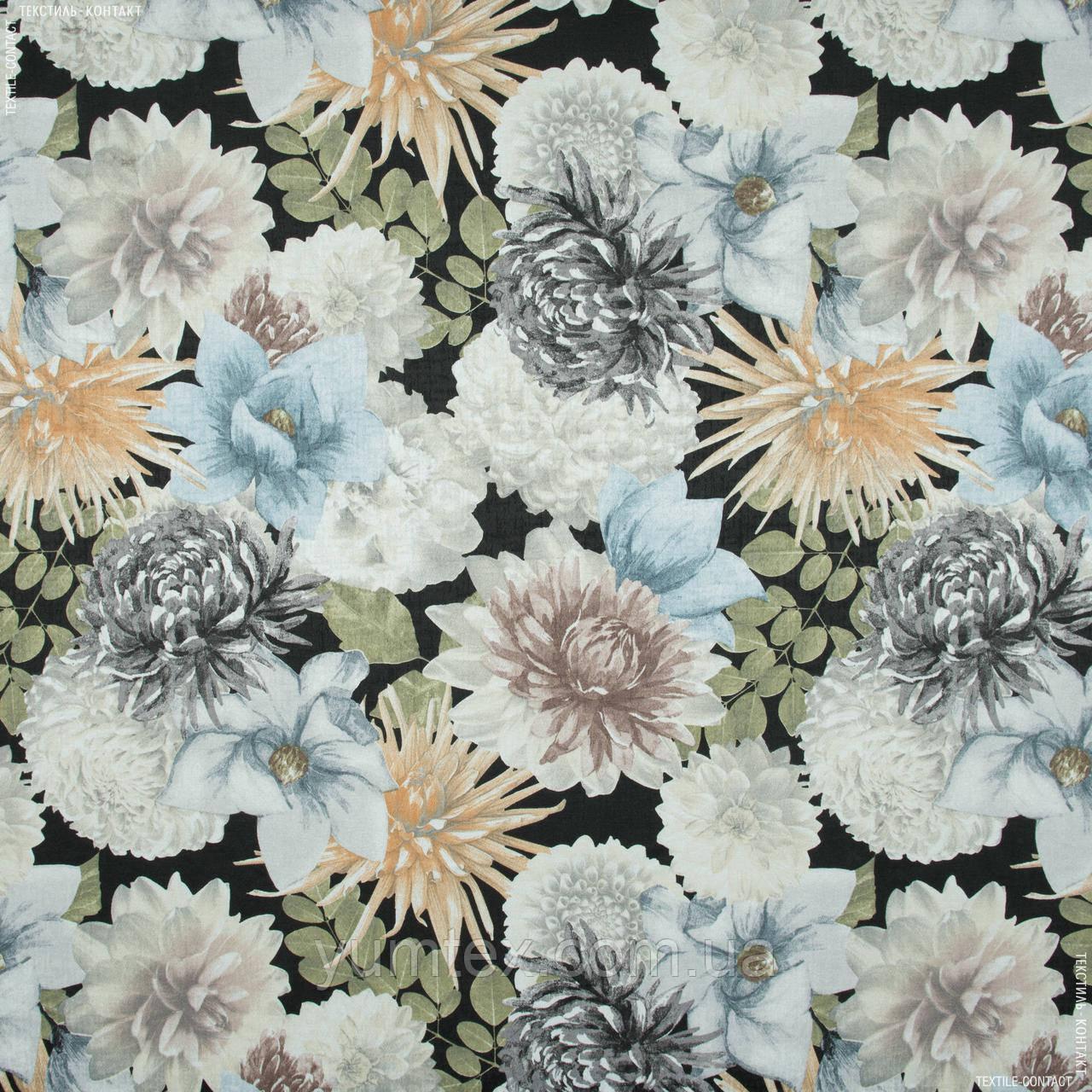 Жаккард-принт  жани/janis  фон черный,цветы серый 145528