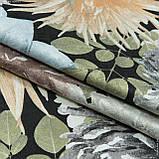 Жаккард-принт  жани/janis  фон черный,цветы серый 145528, фото 3