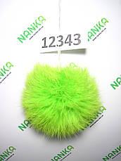 Меховой помпон Кролик, Неон Салат, 10 см, 12343, фото 3