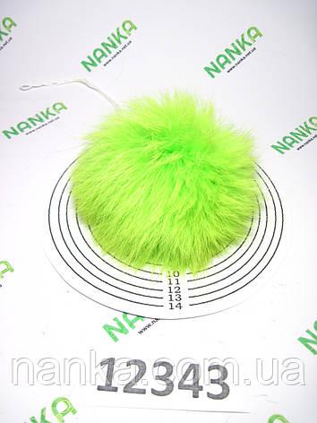 Меховой помпон Кролик, Неон Салат, 10 см, 12343, фото 2