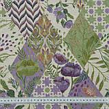 Жаккард фаски ромб-печворк фрезово-фіолетовий 146515, фото 3