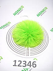Меховой помпон Кролик, Неон Салат, 10 см, 12346, фото 2