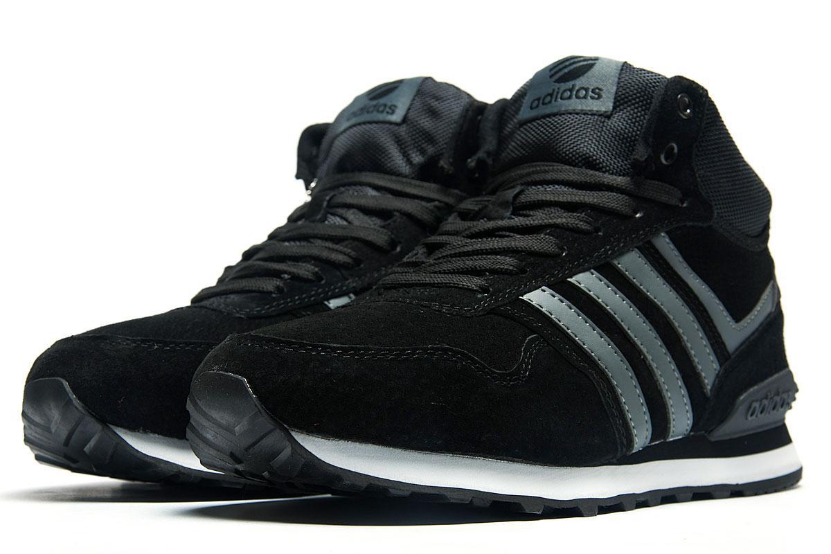Зимние кроссовки на меху в стиле Adidas Fastr TEX, черные (3180-1),  [  41 (последняя пара)  ]