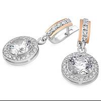Серебряные серьги с золотыми вставками (12с)