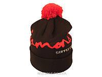 Чёрная шапка Diamond с красным помпоном