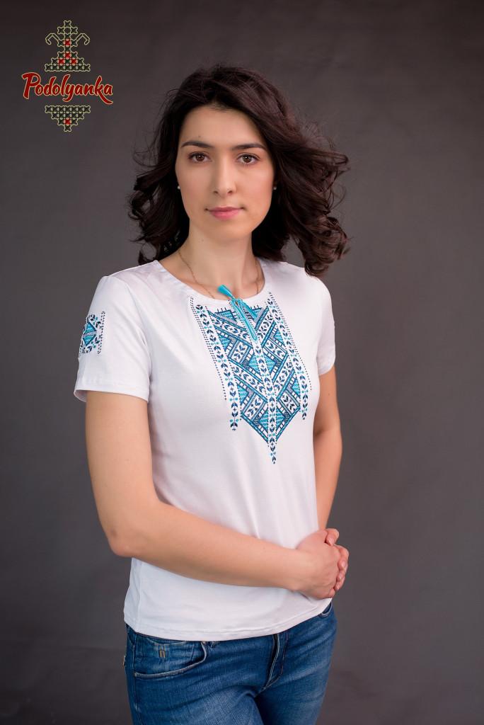 Жіноча вишита футболка Лоза синя  продажа 9f3198ea6b66c