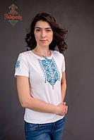 Жіноча вишита футболка Лоза синя, фото 1