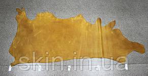 """Натуральная кожа """"Крейзи Хорс"""" для кожгалантереи и обуви желтая, толщина 1.4 мм, арт. СК 1180, фото 2"""