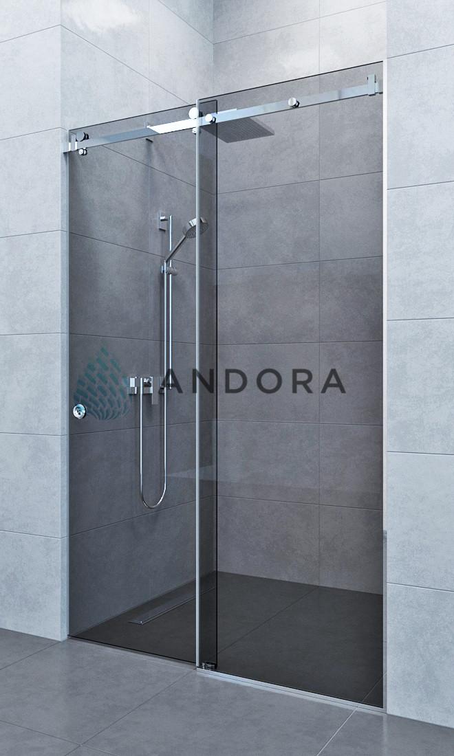 Душевые двери раздвижные Andora Slide 150x200 стекло grafite