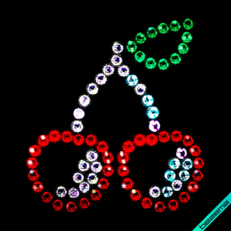 Аппликации на пояса Вишенки (Стекло,2мм-красн.,2мм-роз.,2мм-эмеральд.,2мм-бел.)