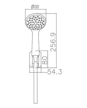 Набор душевой  - ручной душ 1 режим, шланг, держатель, фото 2