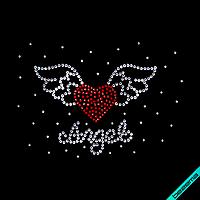 Стразы на парео Сердце Angel (Стекло,3мм-бел.,2мм-красн.,2мм-бел.)