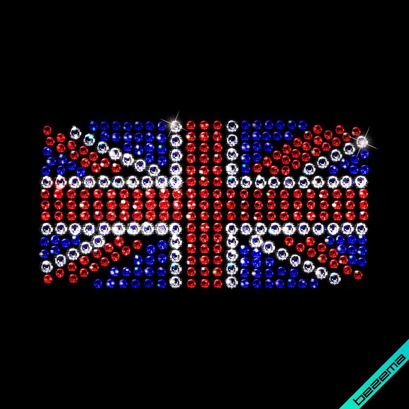 Аплпикации на пуловеры United Kingdom (Стекло,2мм-син.,2мм-красн.,3мм-бел.)