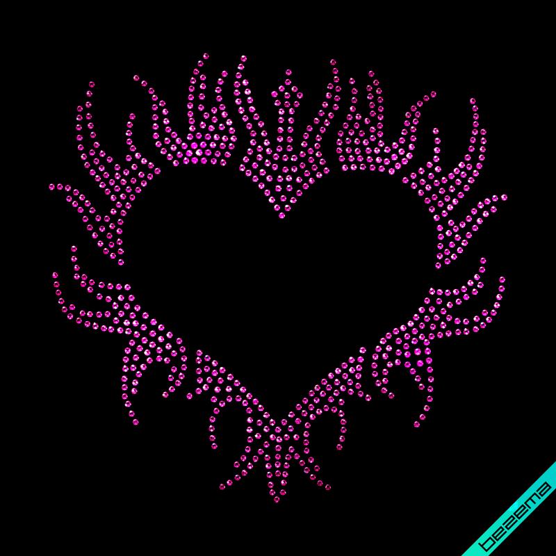 Рисунки из страз на галстуки Сердце (Стекло, 2мм-фуксия)