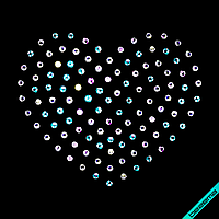 Термонаклейки из страз на подушки Сердце (Стекло,2мм-бензин.)