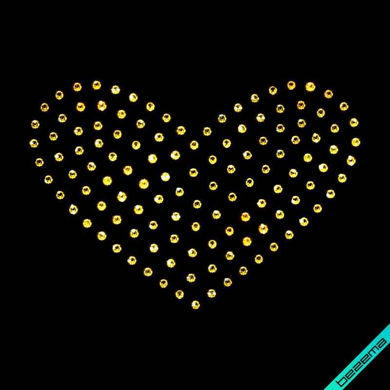 Дизайн на подвязки Сердце (Стекло,3мм-зол.)