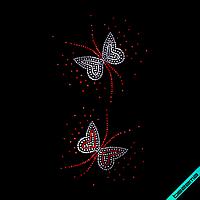 Стразы, аналог пайетки на клатчи Бабочки (Стекло,2мм-бел.2мм-красн.)