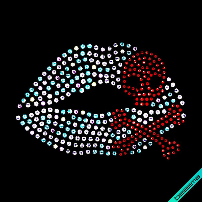 Декор на одяг Губи череп (Скло, 2мм-червон.,3мм-бенз)