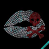 Декор на одежду Губы череп (Стекло, 2мм-красн.,3мм-бенз), фото 1