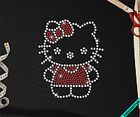 Термонаклейки из страз на ремни Hello Kitty (Стекло,2мм-красн.,3мм-бел.)