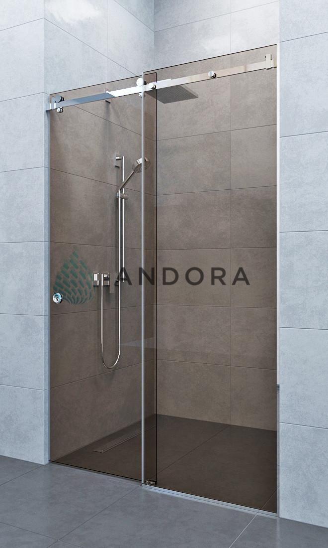 Душевые двери раздвижные Andora Slide 150x200 стекло bronze