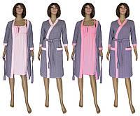 Комплект пеньюар 18011 Golden Dark Grey, ночная рубашка и халат из хлопка, р.р. 42-56 48