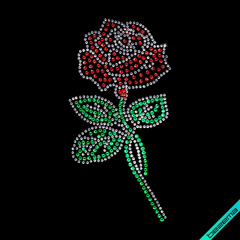 Картинки на свитшоты Роза (Стекло,3мм-красн.,3мм-изумр.,2мм-бел.)