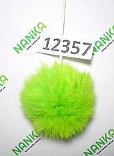 Меховой помпон Кролик, Неон Салат, 8 см, 12357, фото 3