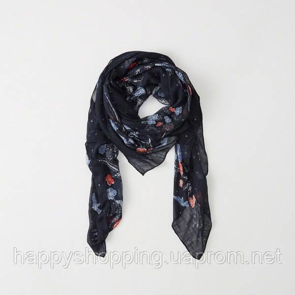 Женский темно-синий платок с цветочным принтом Abercrombie & Fitch