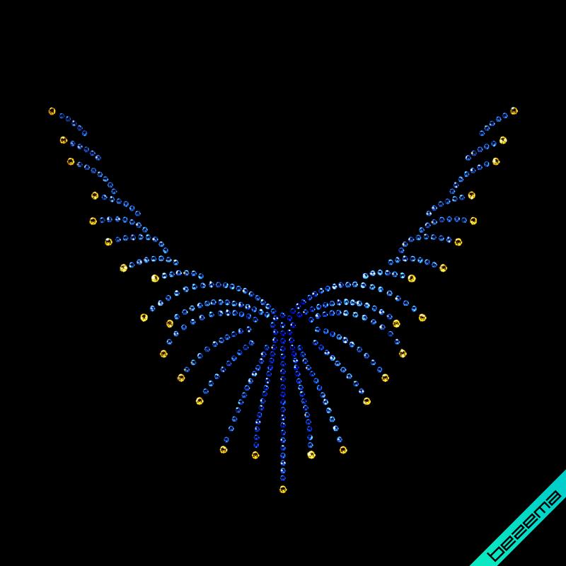 Термонаклейки на шарфы Колье (Стекло, 3мм-жел., 2мм-сапф.)