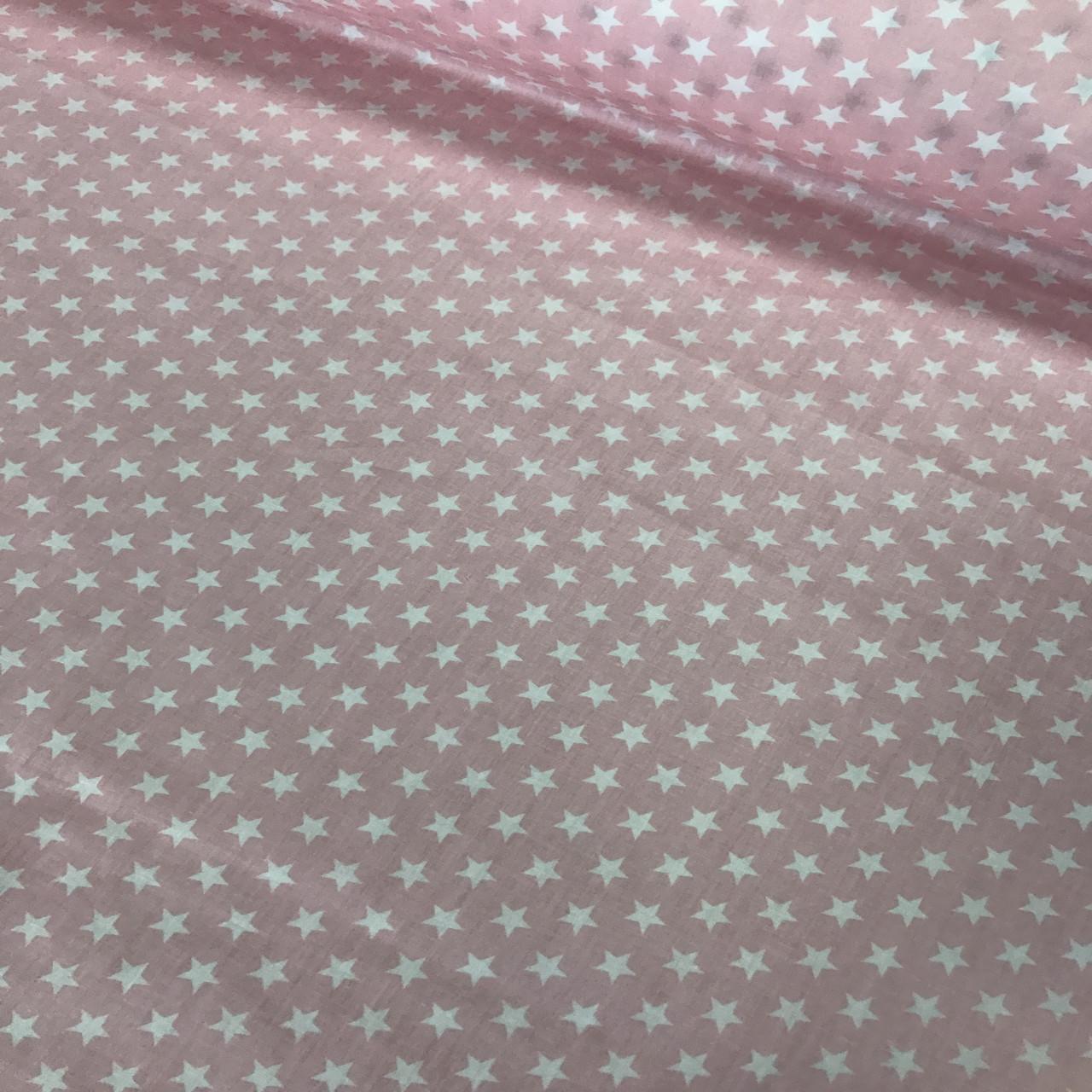 Хлопковая ткань САТИН звезды на розовом 7 мм (КОРЕЯ)