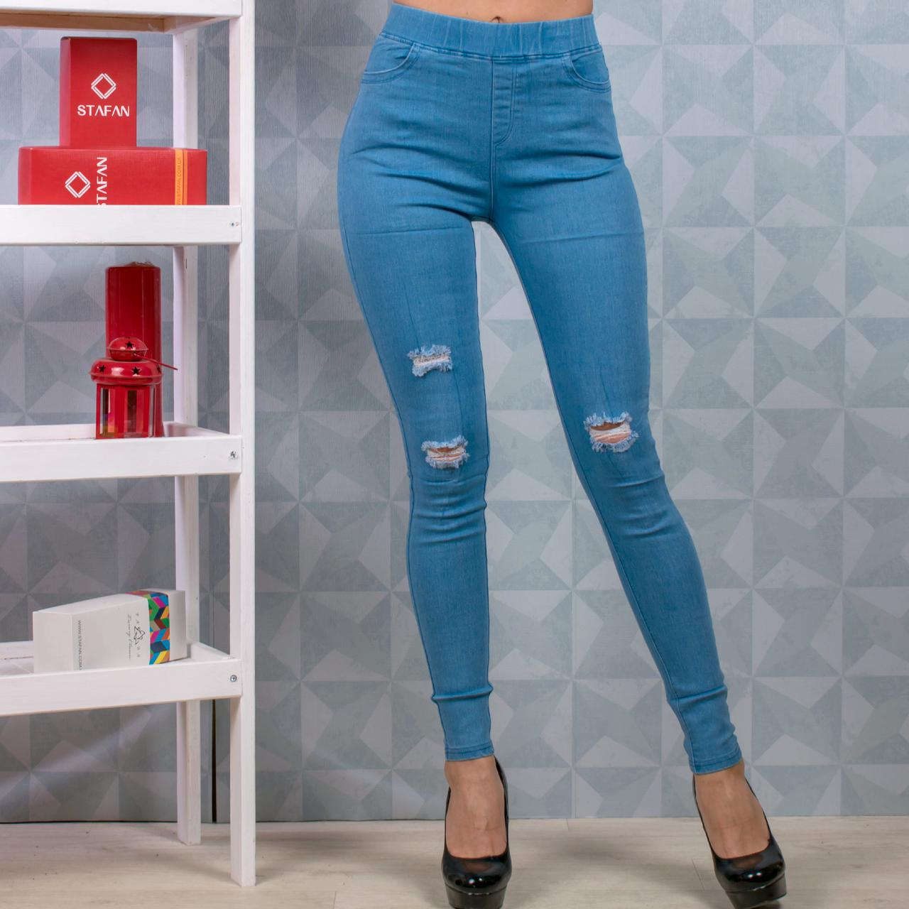 c733daedf99 Женские джинсы стрейч с разрезами Ласточка A650-3-1 M-L. Размер 40-
