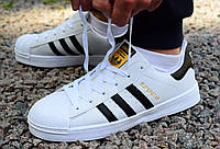 Кросівки Adidas Superstar White Black Gold