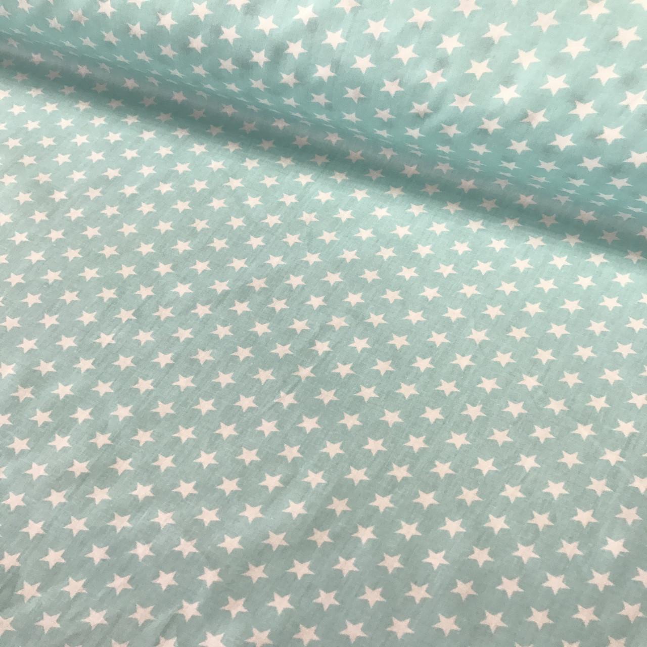 Бавовняна тканина САТИН зірки на м'ятному 7 мм (КОРЕЯ)