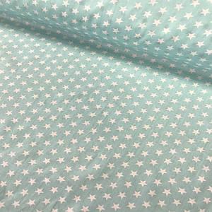 Хлопковая ткань САТИН звезды на мятном 7 мм (КОРЕЯ)
