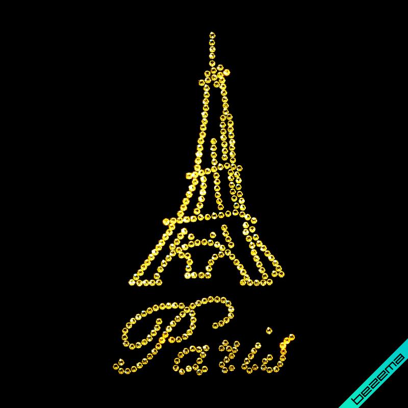 Термонаклейки на брюки Paris (Стекло, 3мм-зол.)