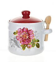 """Банка """"Райский сад"""" 420мл для сыпучих продуктов или меда с деревянной ложкой"""