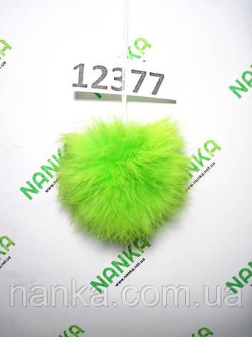 Меховой помпон Кролик, Неон Салат, 8 см, 12377, фото 2