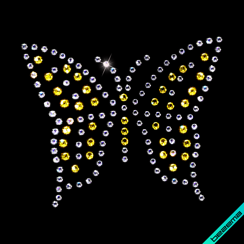 Стразы на пеньюары Бабочки (Стекло, 2мм-бел., 3мм-зол.)