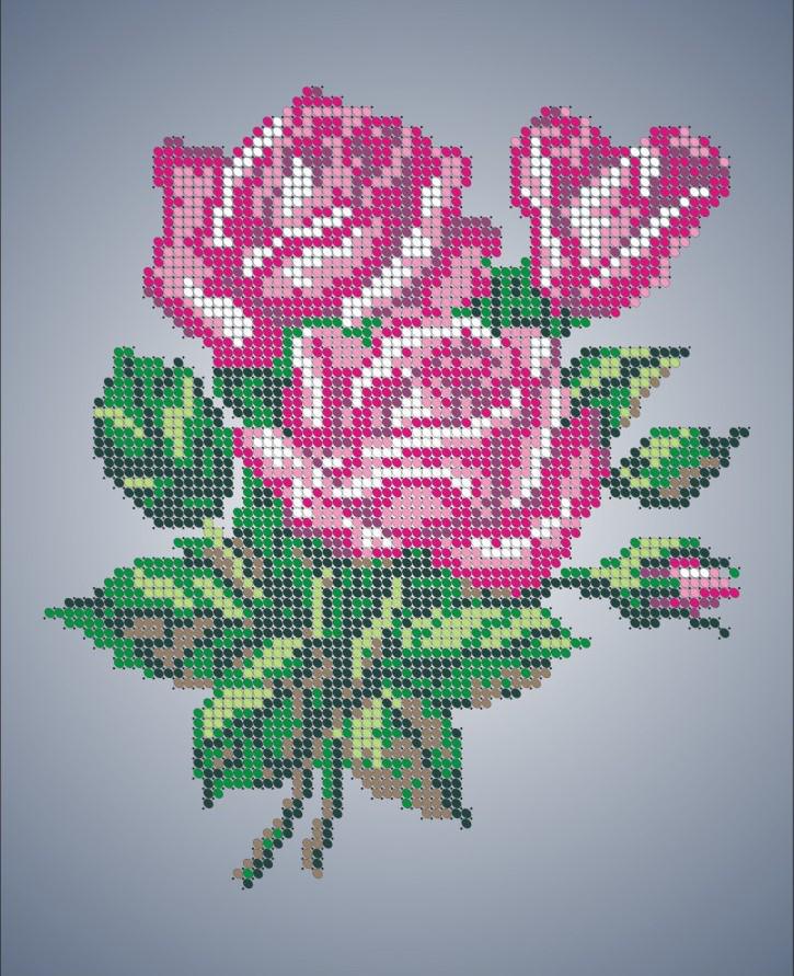 Схема для вышивки / вышивания бисером «Букет троянд» (A4) 20x25