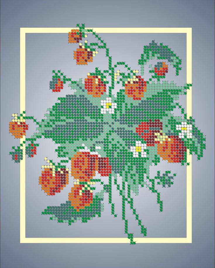 Схема для вышивки / вышивания бисером «Суниця» (A4) 20x25