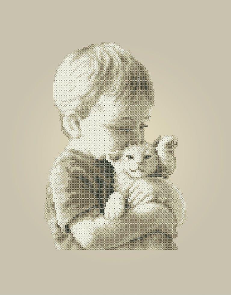 Схема для вышивки / вышивания бисером «Хлопчик з кошенятком» Коричневий фон (A3) 30x40
