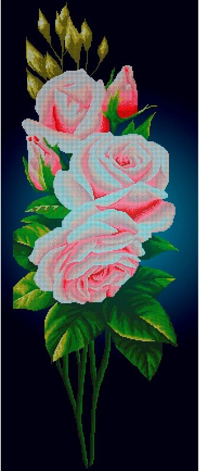 Схема для вышивки / вышивания бисером «Рожева троянда на синьому фоні» (40x100)