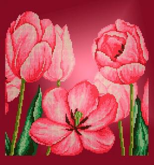 Схема для вышивки / вышивания бисером «Тюльпани» (40x100)