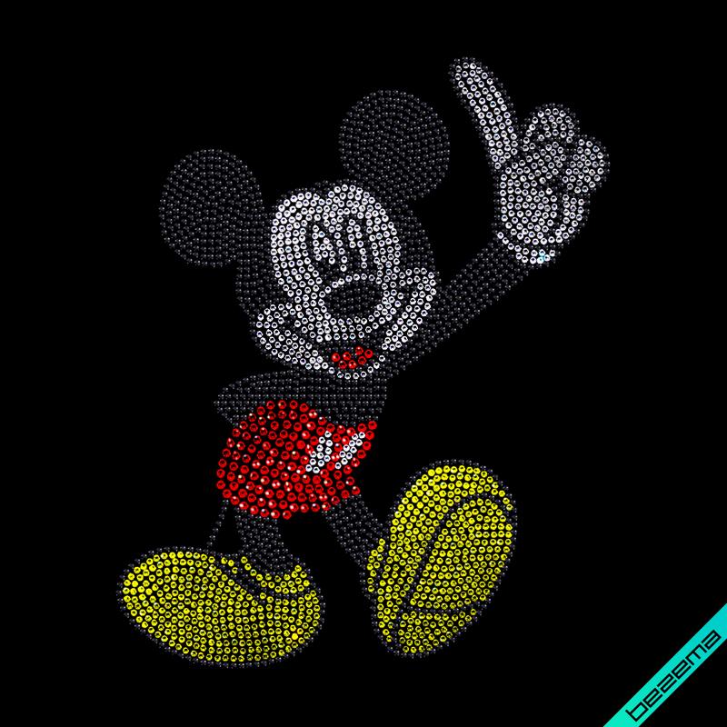 Термонаклейки на кофты Mickey Mouse (Стекло,3мм-жел.,2мм-бел.,4мм-красн.,2мм-черн.)