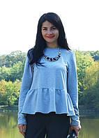 "Блуза для беременных ""Волна нежности"" р. 48-50 (трикотаж двунитка) ТМ NowaTy Голубой 17020301, фото 1"