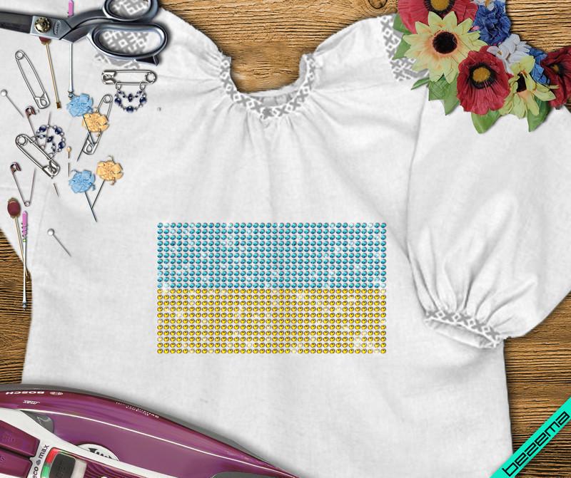 Термоаппликации из страз на купальники Флаг Украины (Стекло,3мм-жел.,3мм-сапф.)