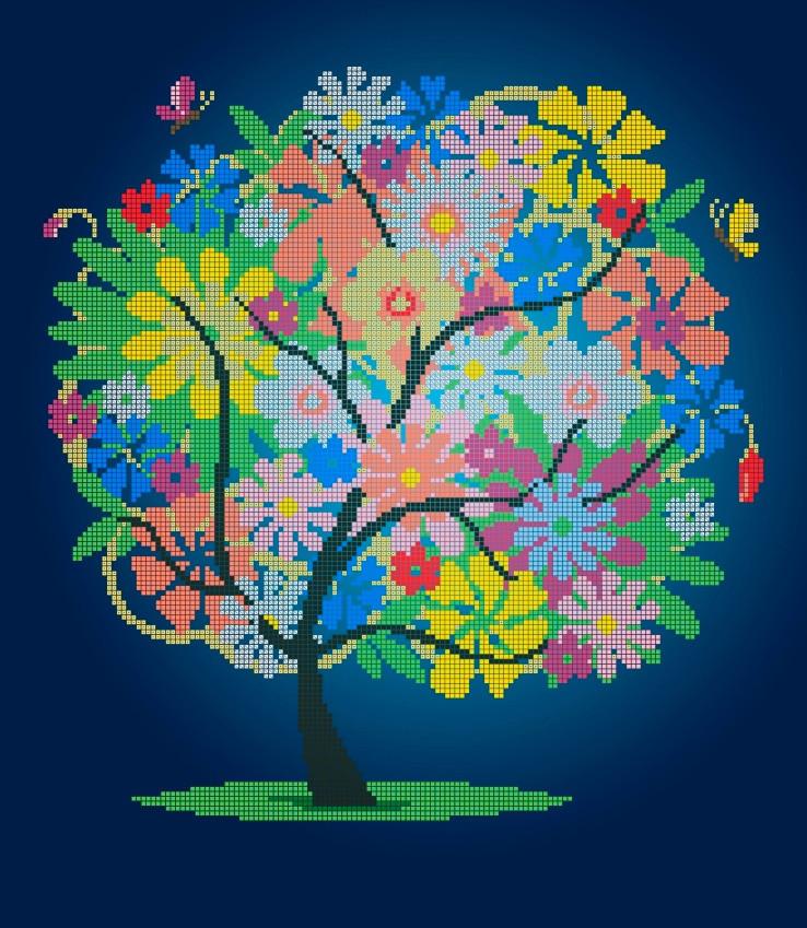 Схема для вышивки / вышивания бисером «Летнее дерево» (40x45)