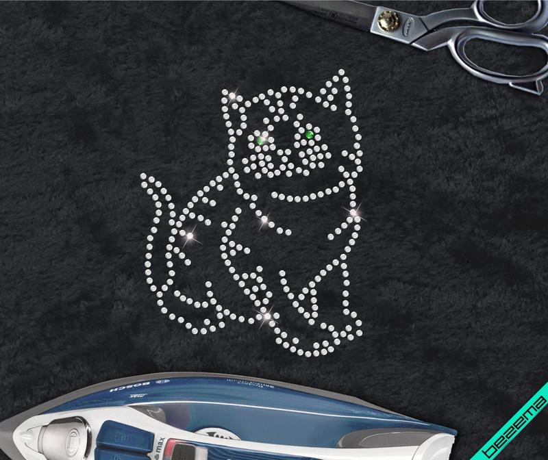 Термонаклейки из страз на куртки Кошка (Стекло,2мм-бел.,3мм-эмер.)